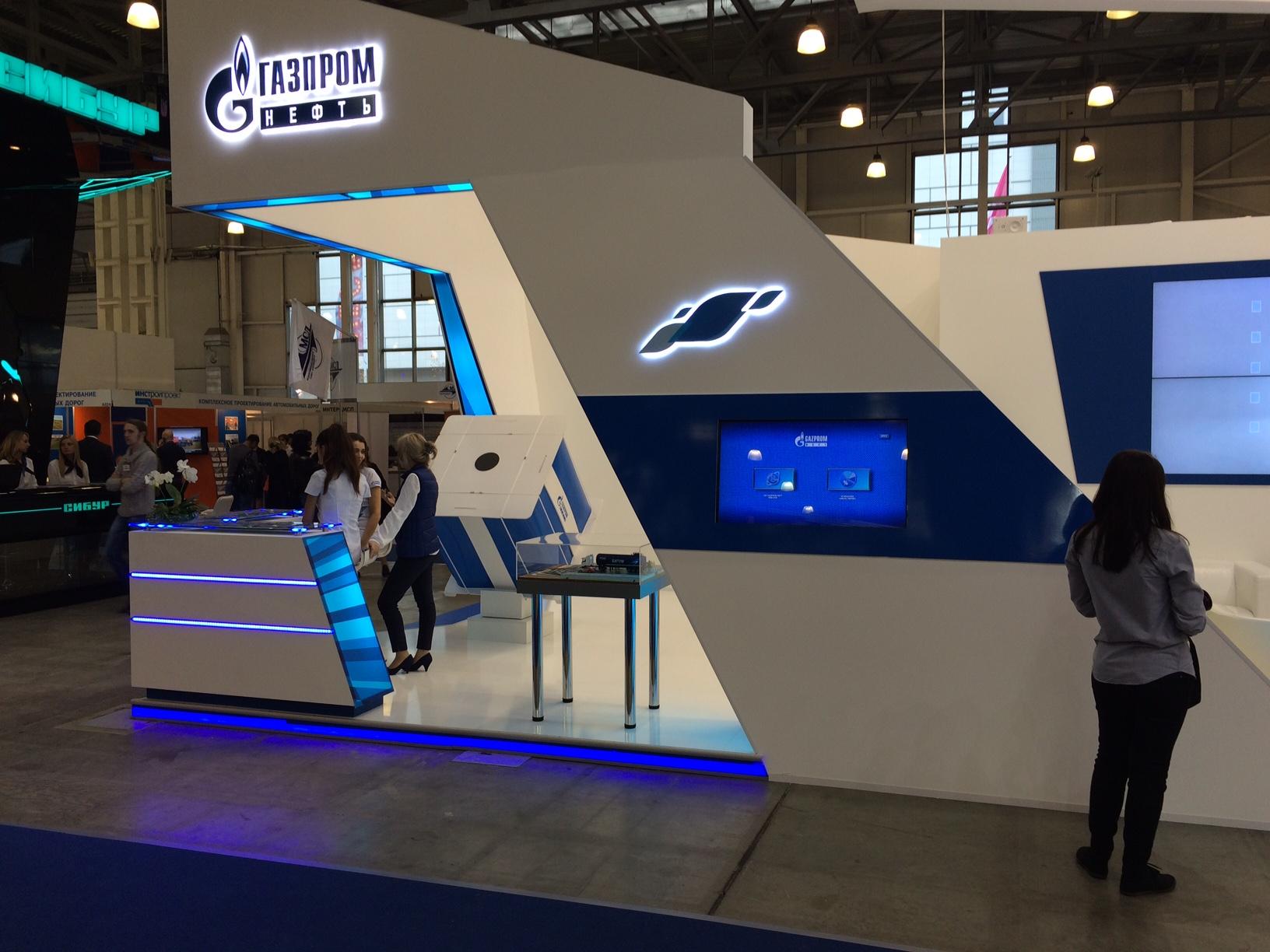 """Специалисты компани APPOLLO DIGITAL в сотрудничестве с компаний ITDILAB осуществили комплексную застройку стенда корпорации """" Газпром"""" для выставки"""